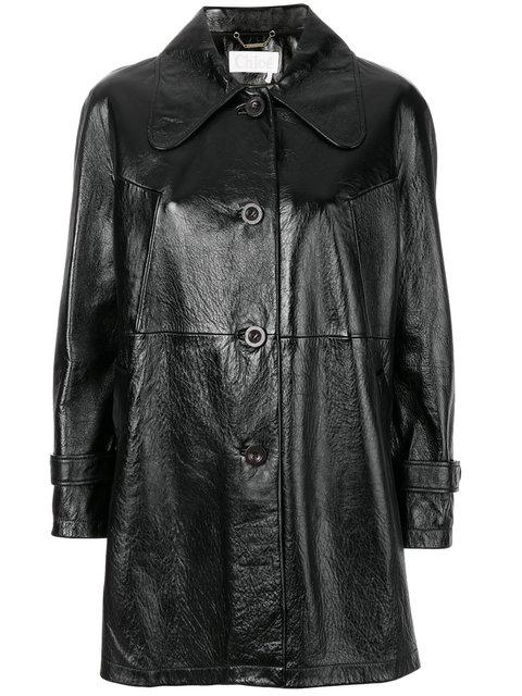 ChloÉ Crinkled Glossed-leather Coat In Black
