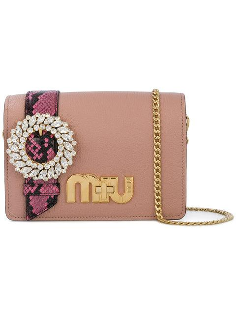6c4713803b47 Miu Miu My Miu Embellished Watersnake-Trimmed Textured-Leather Shoulder Bag  In Antique Rose