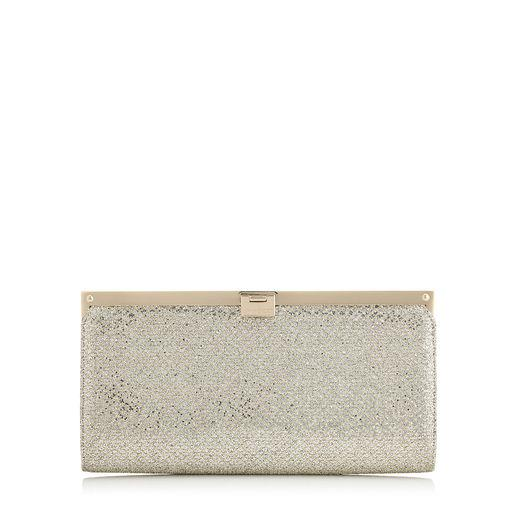 Jimmy Choo Camille Champagne Glitter Fabric Clutch Bag
