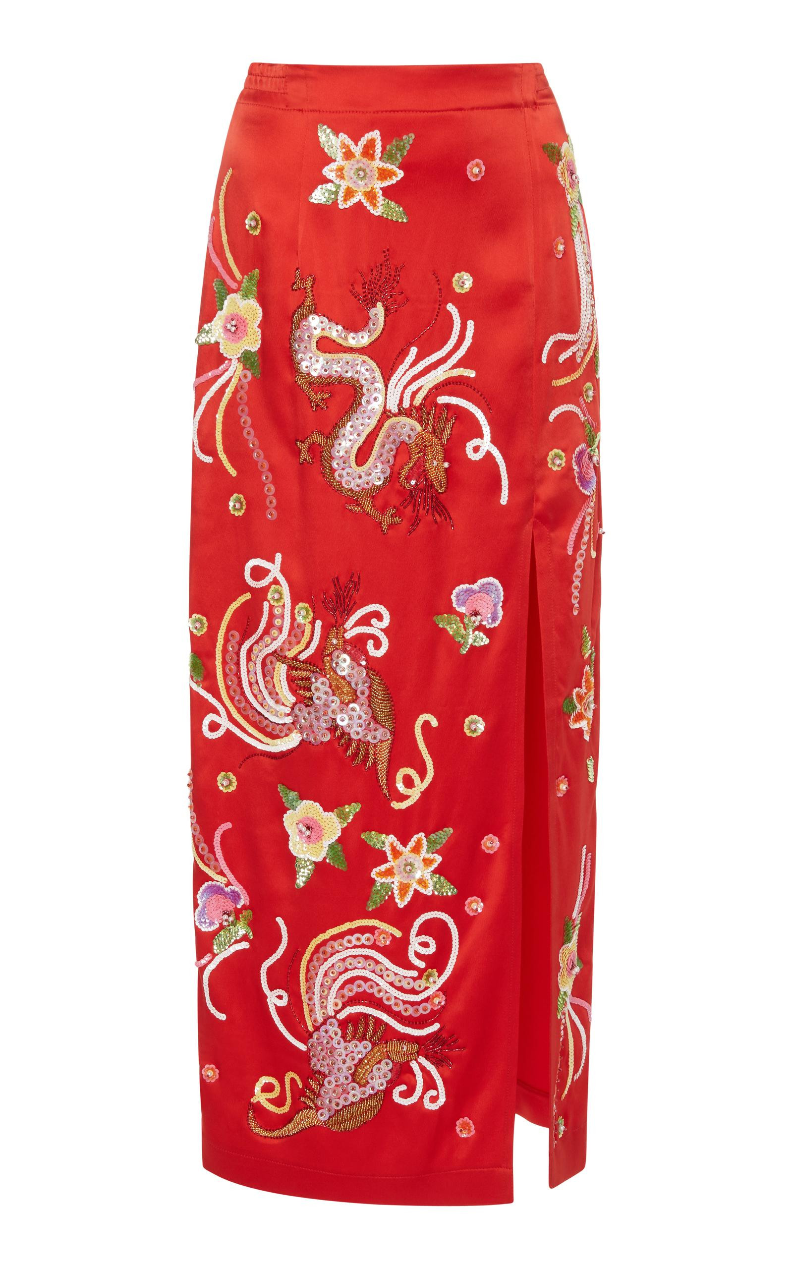 28a7a544e0 Attico Envers Embroidered-Dragon Satin Slim Skirt With Sequins Trim In Red