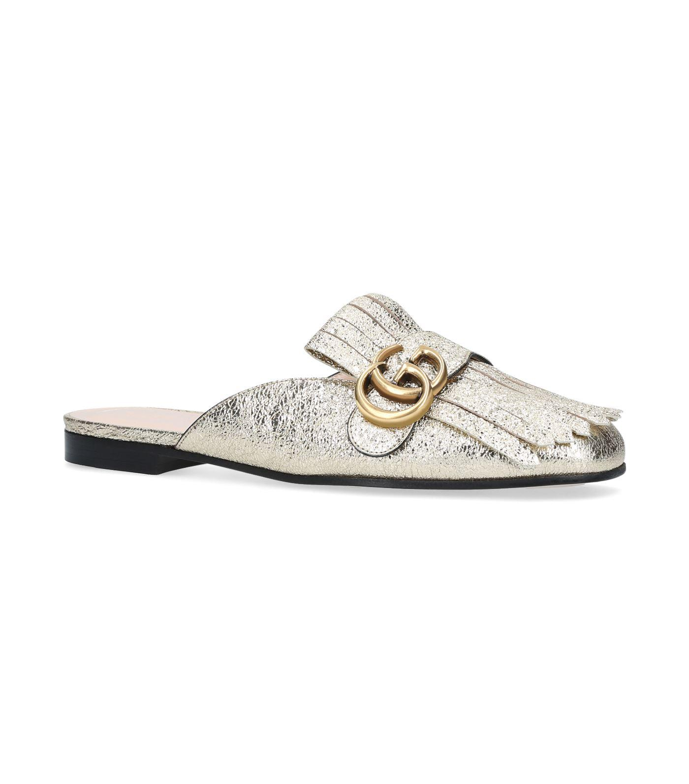 9cd5f4f185b Gucci Marmont Fringed Logo-Embellished Metallic Cracked-Leather Slippers In  Gold