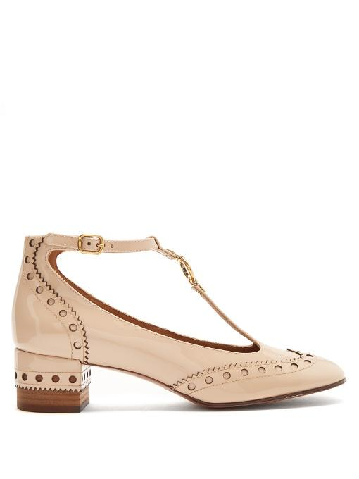 8b264d5b514 ChloÉ Chloe Perry Patent Leather Pumps In Neutrals