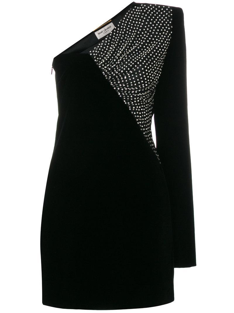 Saint Laurent Straight-cut Asymmetrical Mini Dress In Black Velvet
