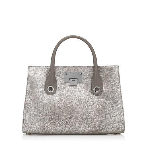 Jimmy Choo Riley/m Platinum Metallic Grainy Leather Tote Bag