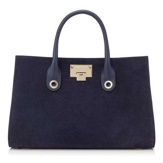 Jimmy Choo Riley/m Navy Suede Tote Bag