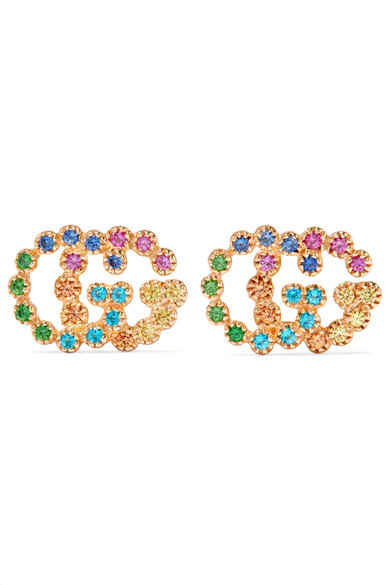 a28202db7 Gucci 18K Yellow Gold Running G Mixed Gemstone Stud Earrings In Multicolor,  Yellow, Gold
