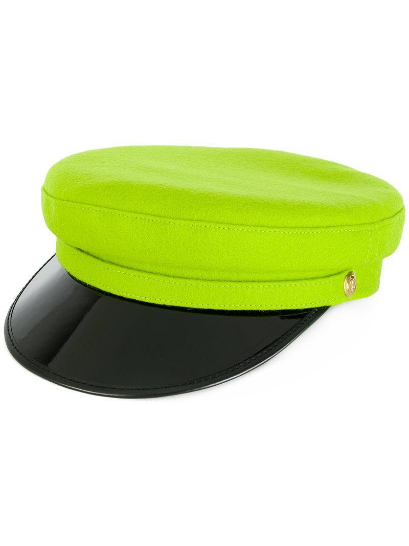 Manokhi Vinyl Visor Officer's Cap In Green