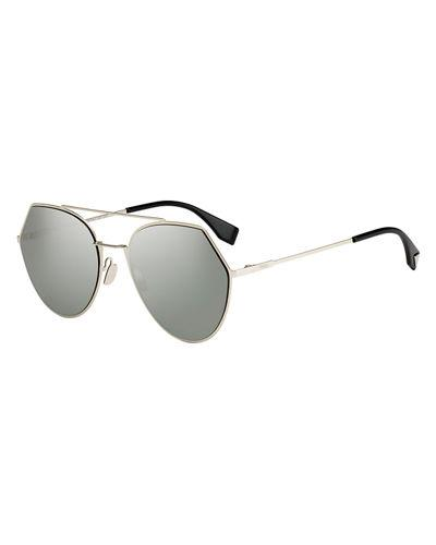 6c1780734a Fendi Women S Eyeline Mirrored Brow Bar Round Sunglasses