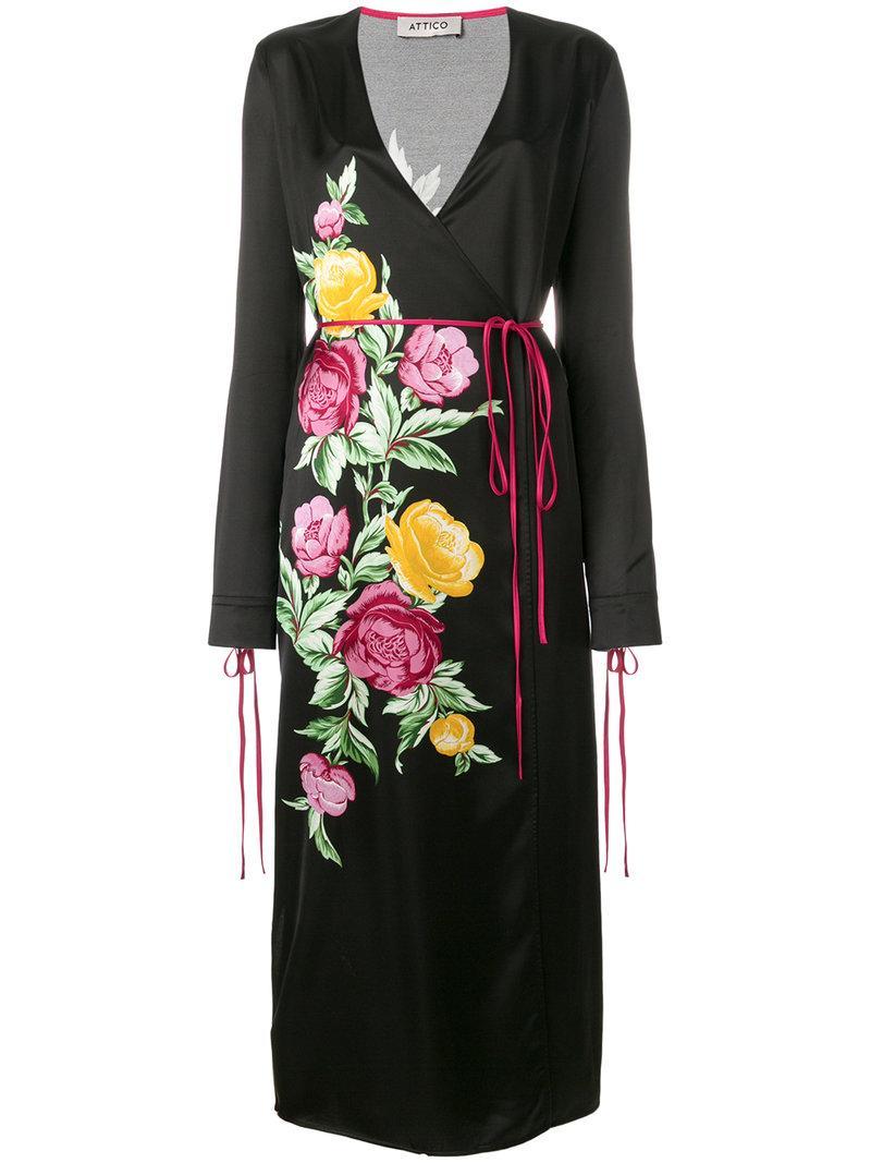 Attico Grace Floral-print Satin Wrap Midi Dress In Black