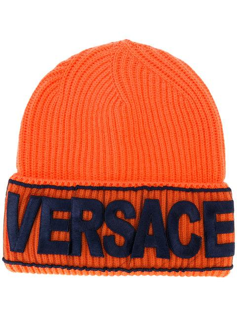 21d5dbbd4d03a Versace Loyalty Embroidered Beanie In Orange