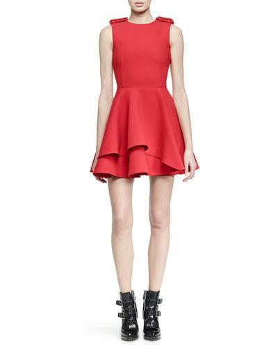 Alexander Mcqueen Military Fit-and-flare Dress In Red