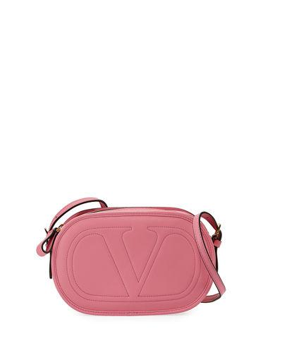 Valentino Garavani Smooth Logo Crossbody Bag In Pink