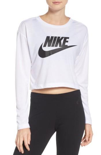 Nike Sportswear Essential Long Sleeve Cropped Top In White/ White/ Black