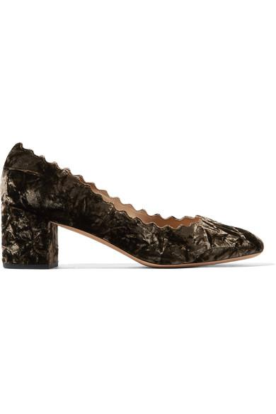 ChloÉ Lauren Scalloped Crushed-velvet Pumps