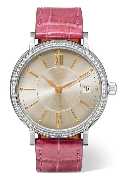 Iwc Schaffhausen Portofino Automatic 37mm Stainless Steel, Alligator And Diamond Watch In Pink