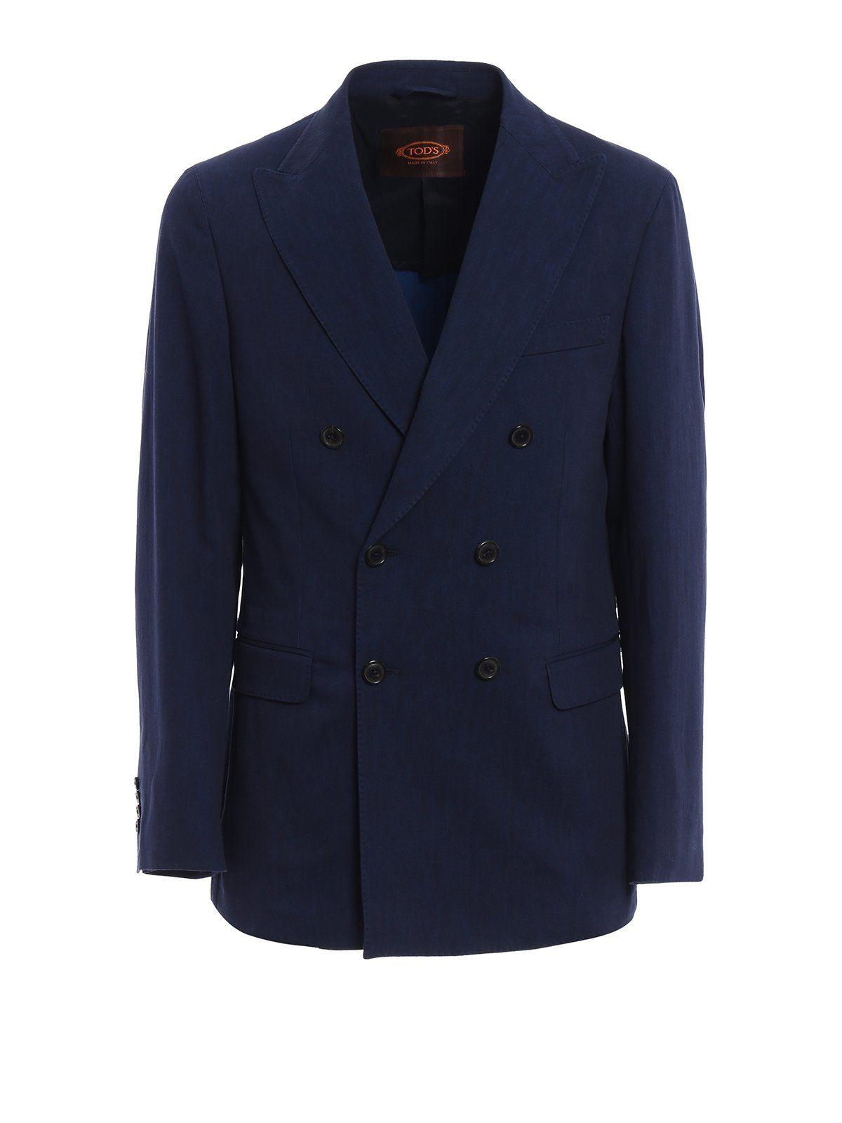 Tod's Double Breasted Blazer In Blue