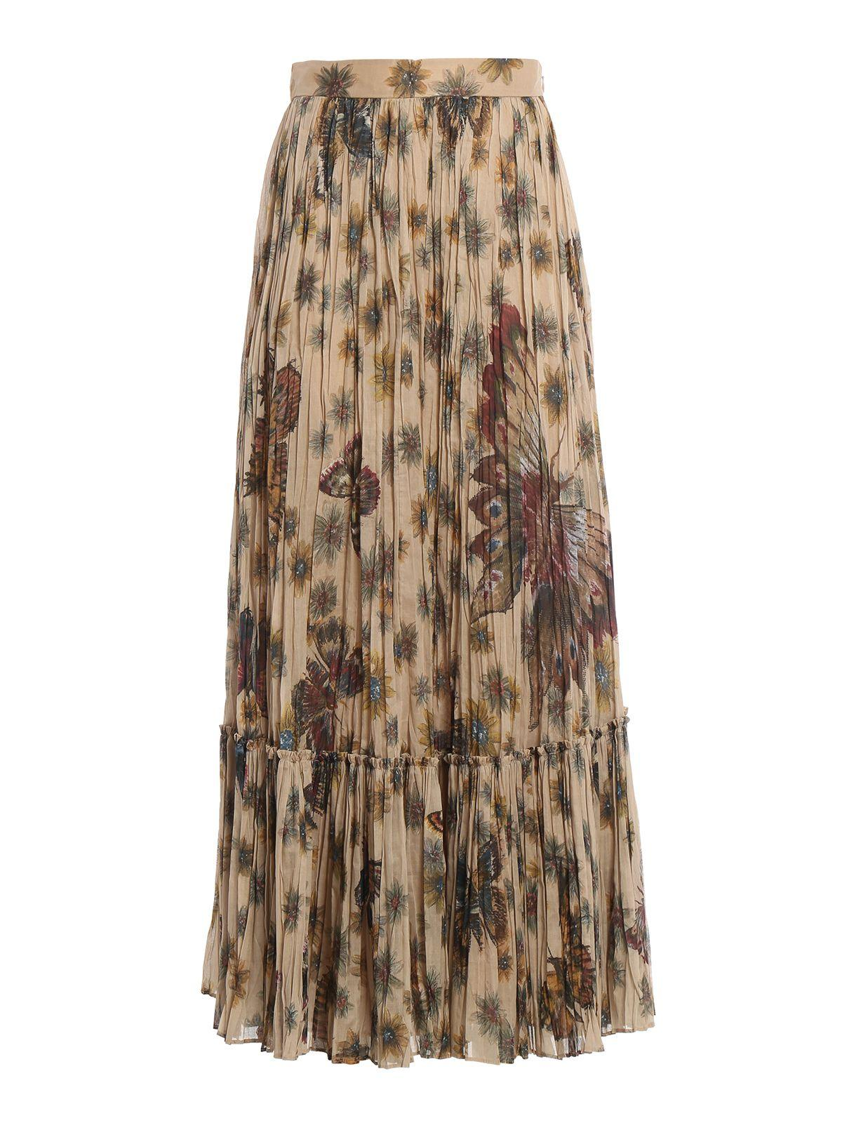 Valentino Butterfly Print Pleated Skirt In Brown