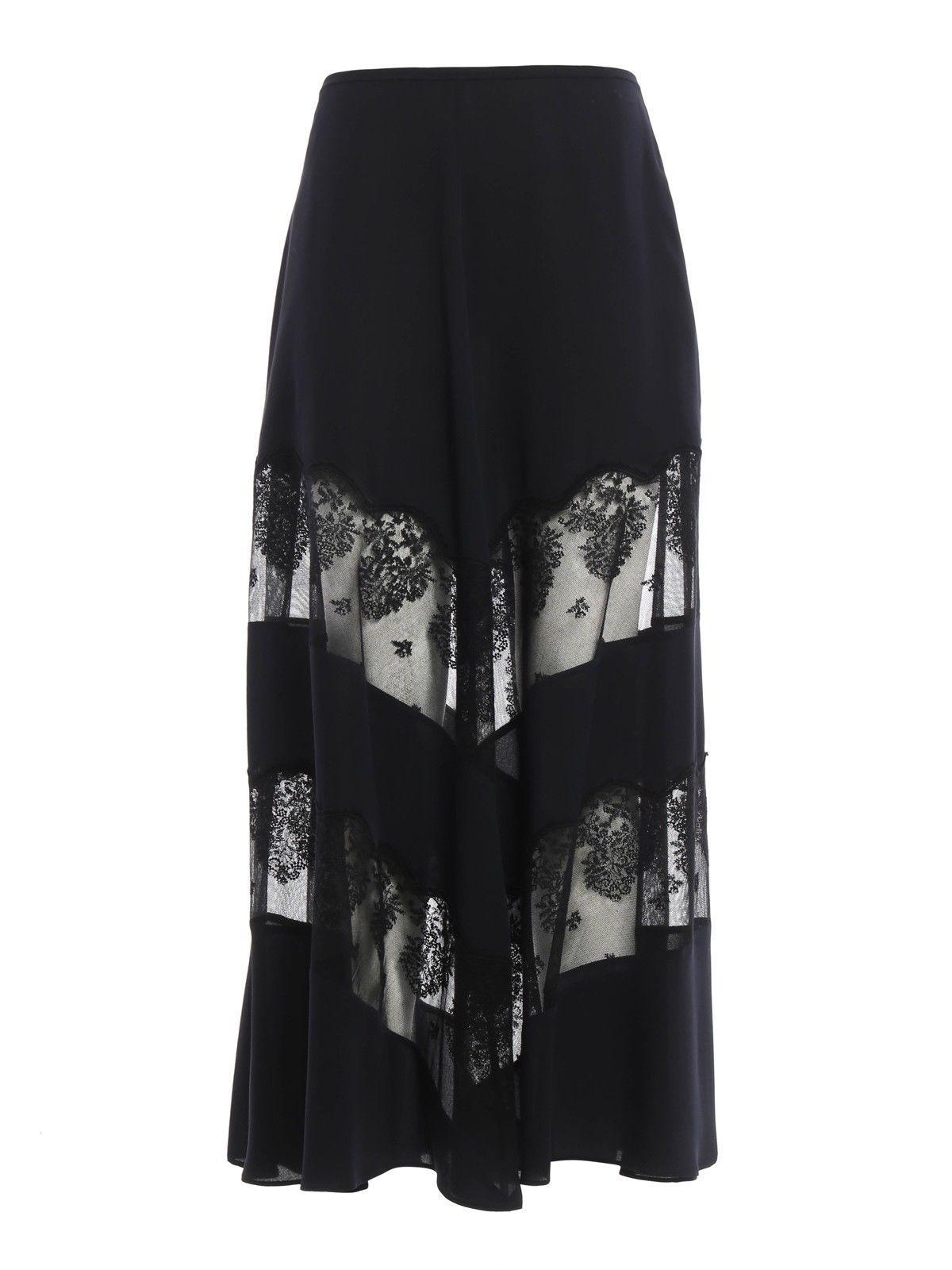 Stella Mccartney Sheer Lace Panel Maxi Skirt In Blue
