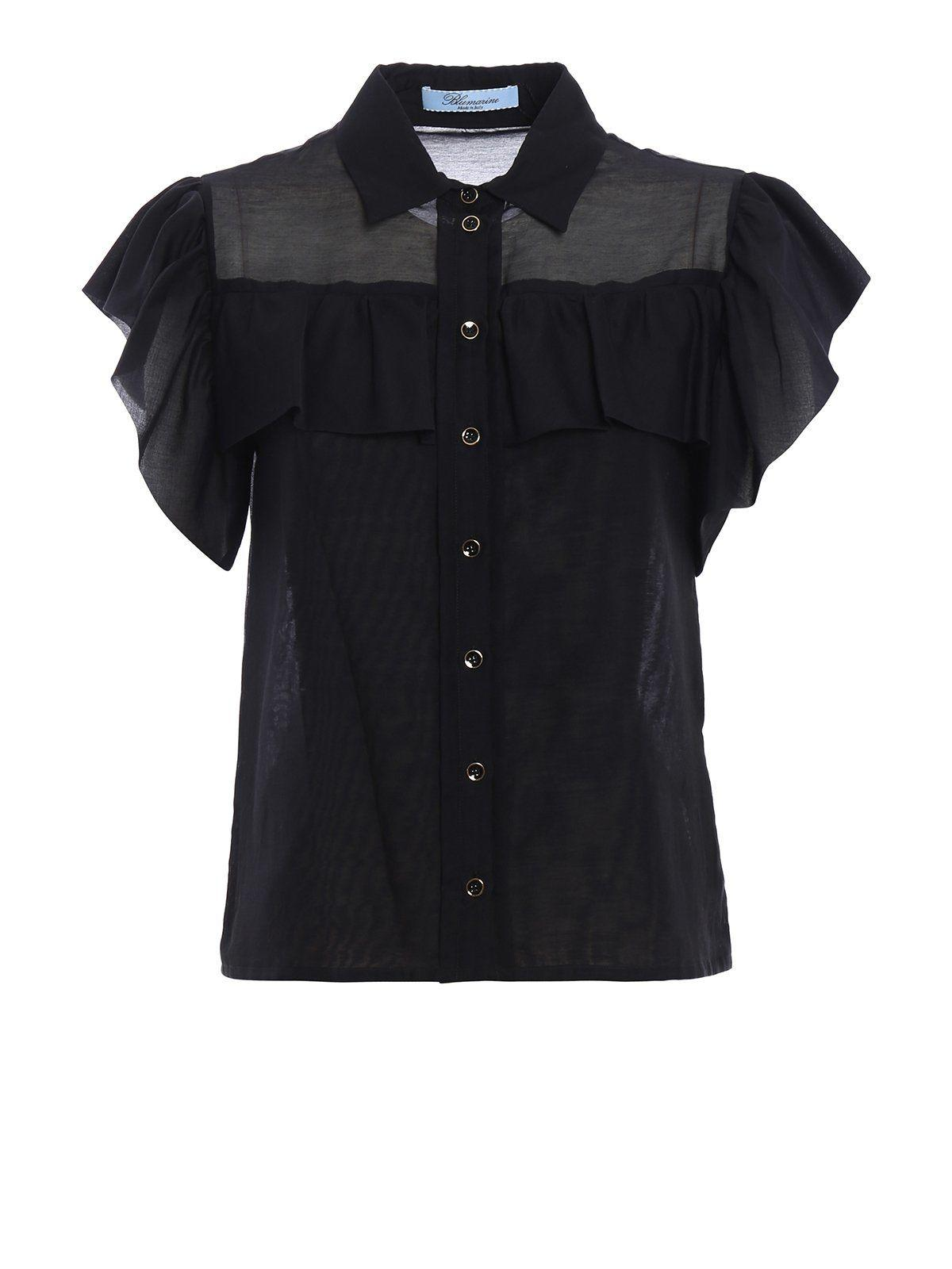 Blumarine Shirt Rouches In Black