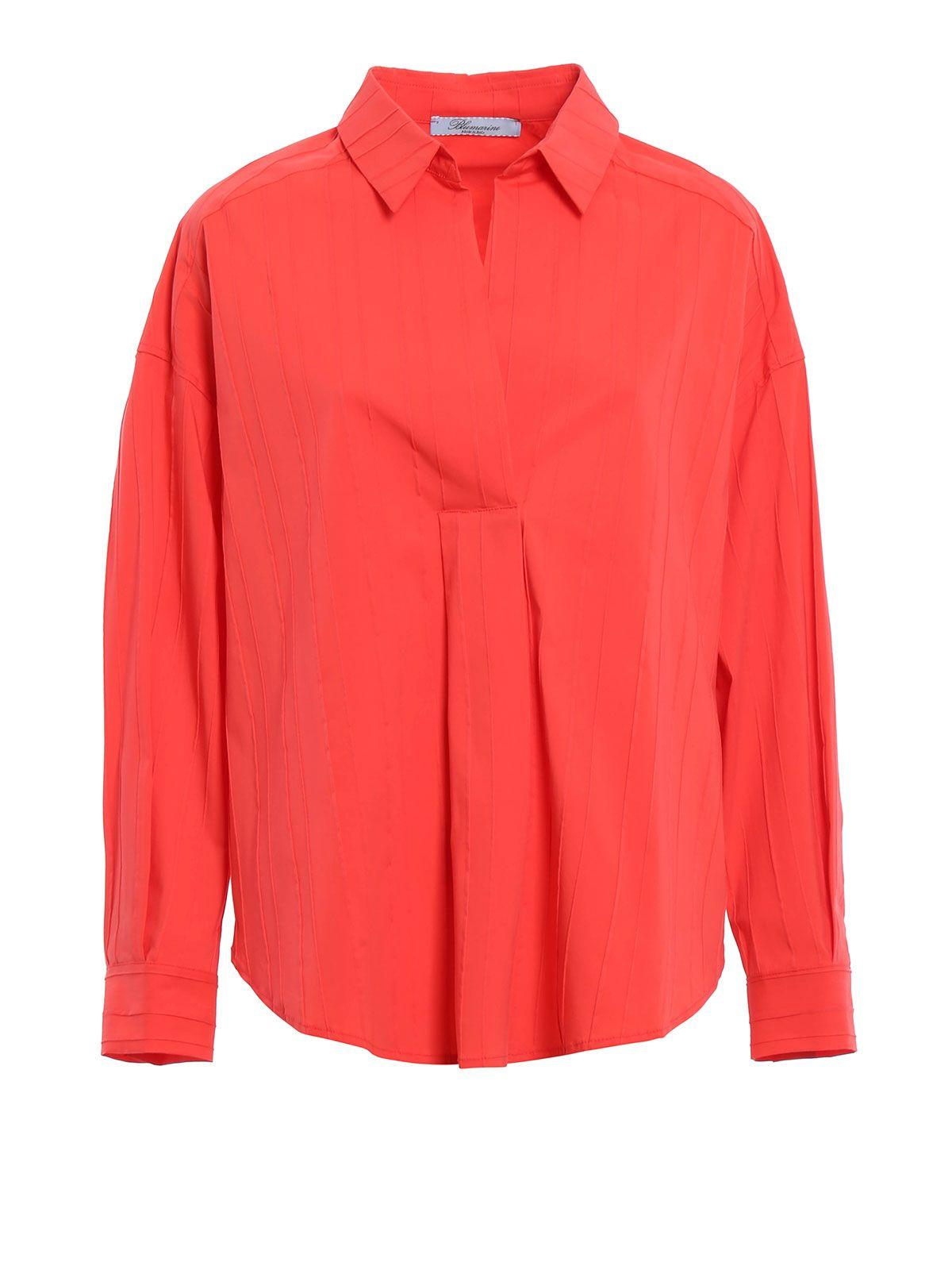 Blumarine Ribbed Polo Shirt In Red