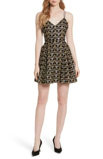 3f15bb4e7751 Alice And Olivia Marilla Damask Embroidered V-Neck Fit & Flare Dress In  Black