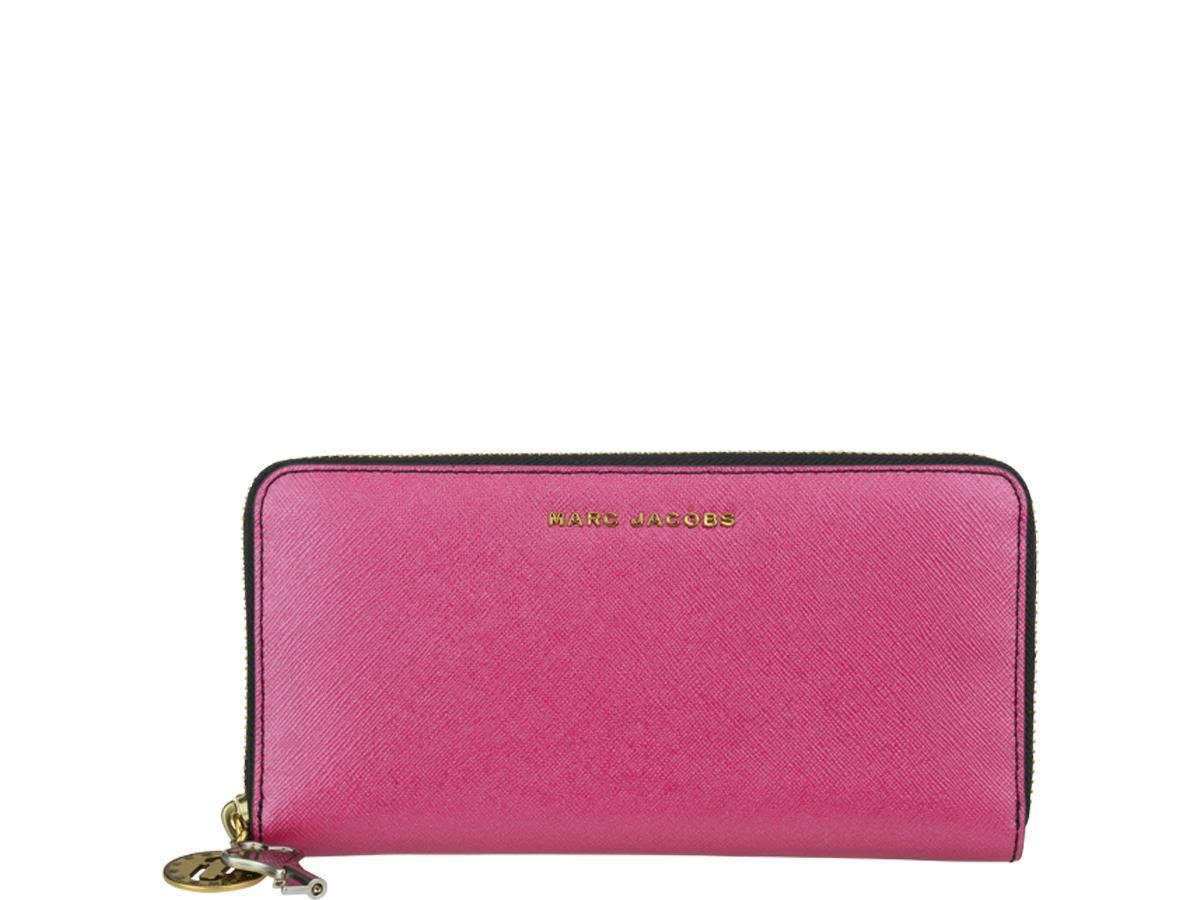 Marc Jacobs Saffiano Bicolor Standard Continental Wallet In Magenta / Pink