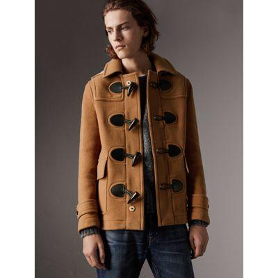 Burberry Burwood Wool Duffle Coat In Mid Camel