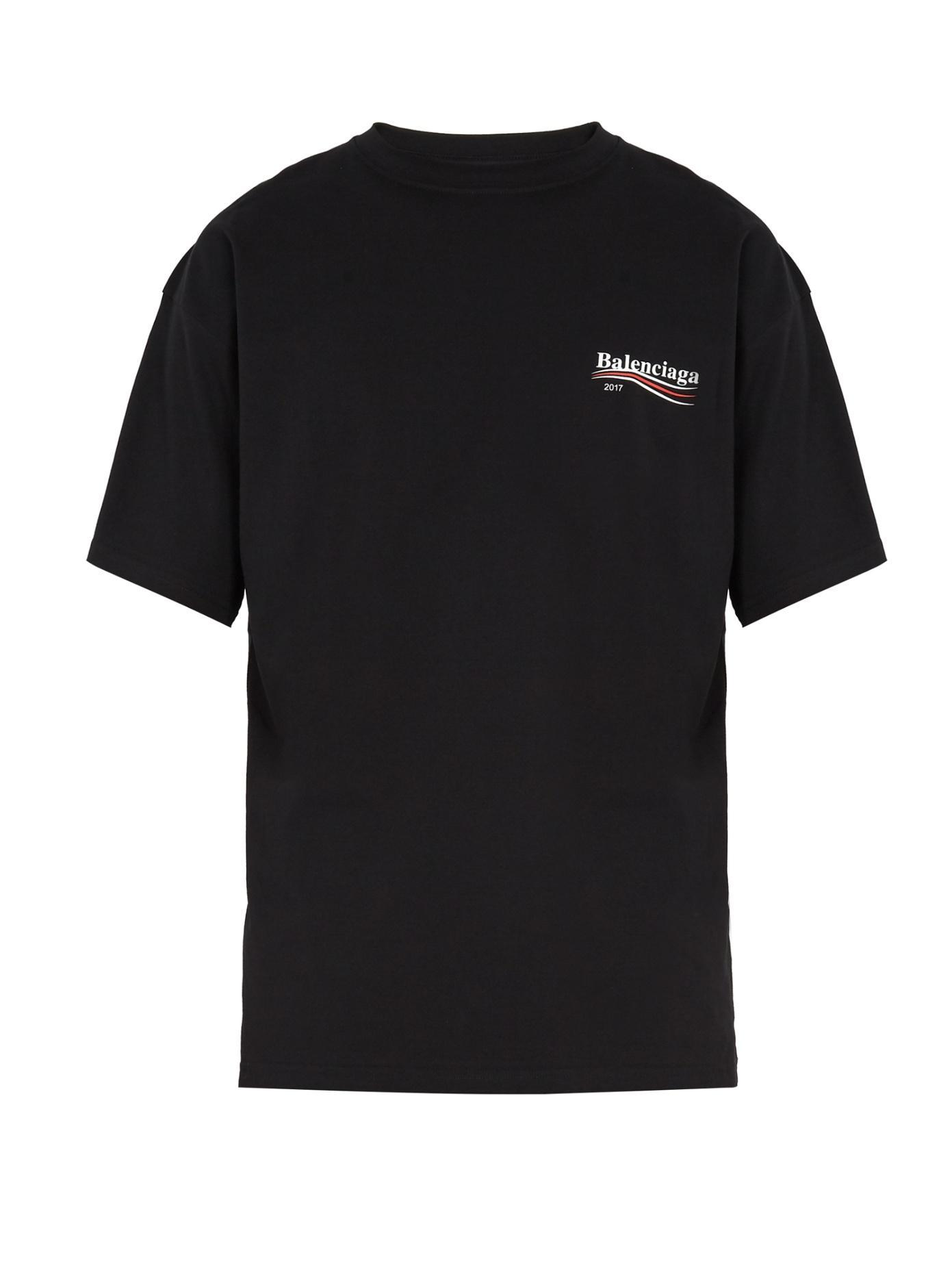 913cff9d632 Balenciaga Oversized Logo-Print Cotton-Jersey T-Shirt In 1000 Black ...