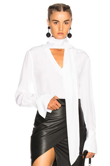 cf1e1ce815247 Equipment Jacqueleen French-Cuff Tie-Neck Silk Blouse In White ...