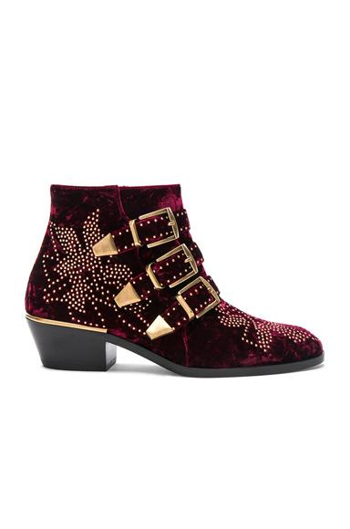 ChloÉ Chloe Studded Textured Velvet  Susanna Booties In Red