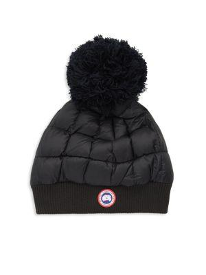 320126a15dd Canada Goose Quilted Down Pom Beanie In Black