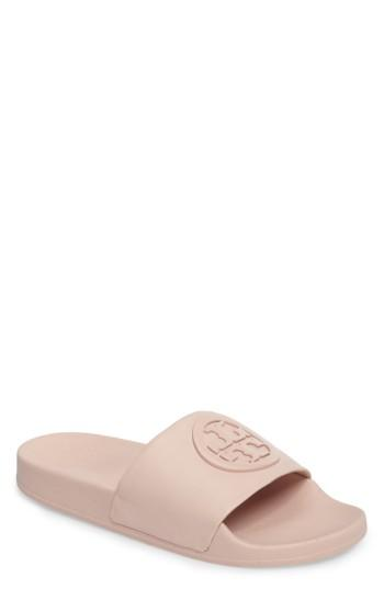 bca253f4d80 Tory Burch Women s Lina Leather Pool Slide Sandals In Shell Pink ...