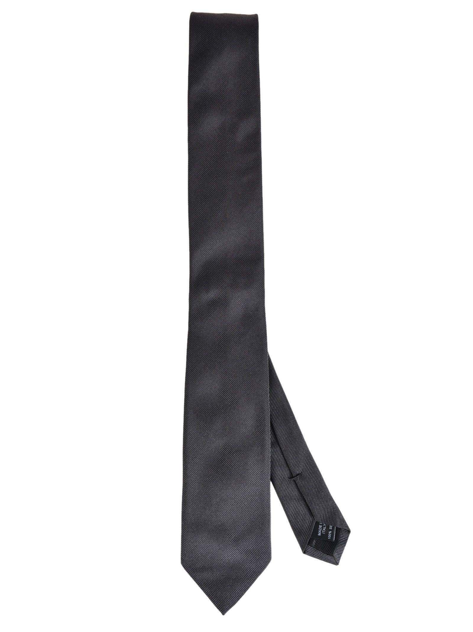 Dolce & Gabbana Stripe Textured Tie In Grigio Scuro
