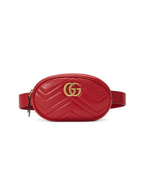 Gucci Red Gg Marmont Matelass Leather Belt Bag In 6433 Hibisc