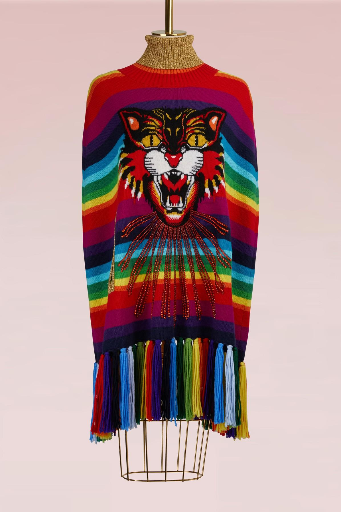 f2faa811 Gucci Angry Cat Intarsia Striped Knitted Cape In 7006 | ModeSens