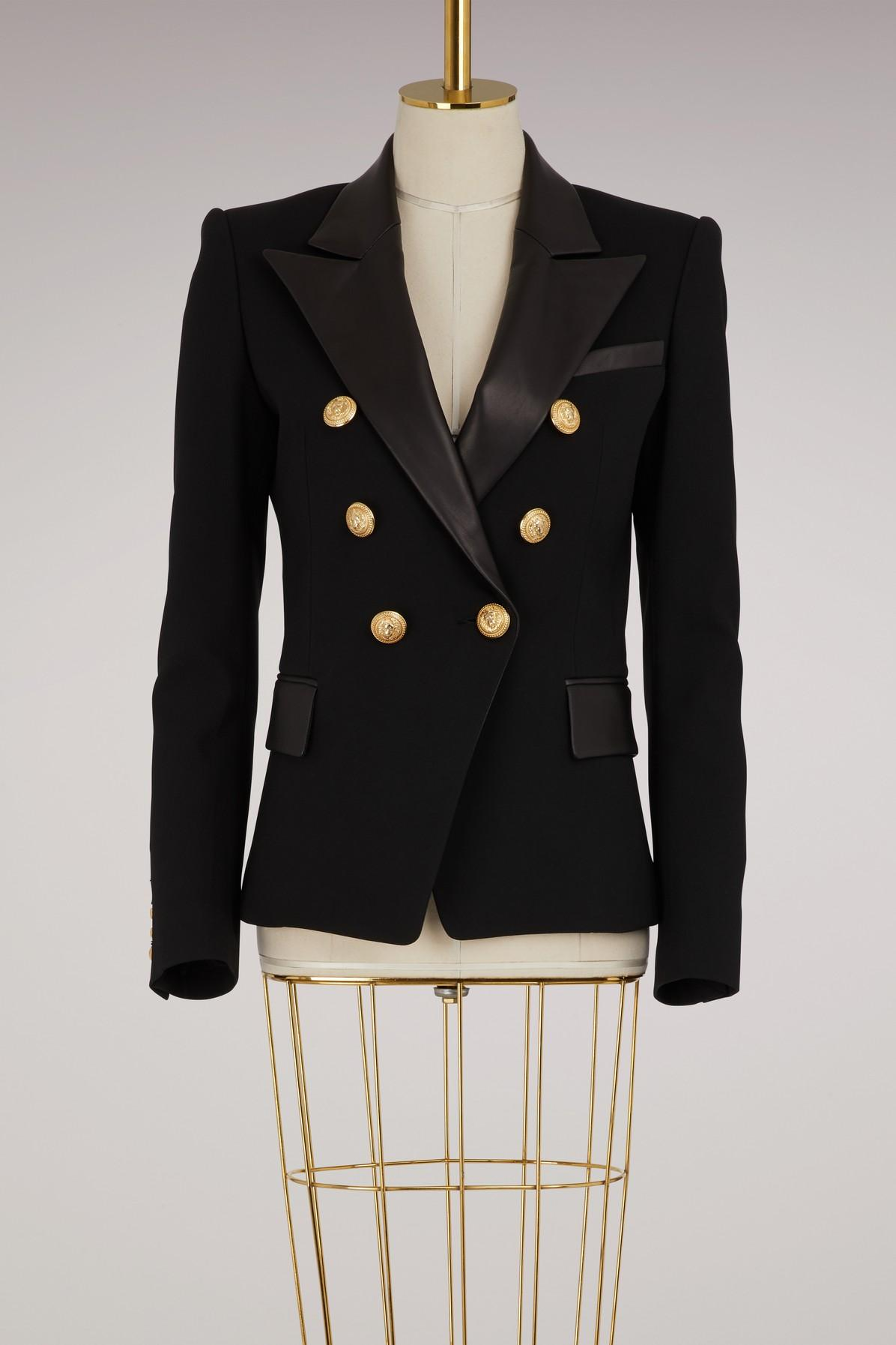 Balmain Leather-trimmed Wool And Cashmere-blend Jacket In Black