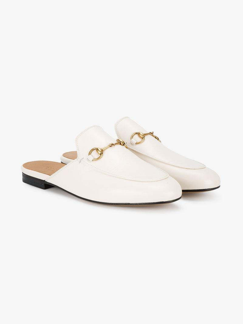 Gucci Princetown Horsebit-detailed Leather Slippers In White Leather