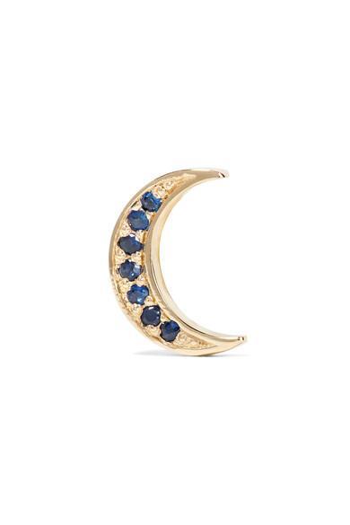 Andrea Fohrman Mini Crescent 14-karat Gold Sapphire Earring