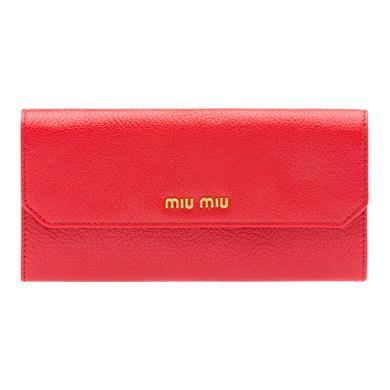 Miu Miu Madras Leather Wallet In Fire Engine Red