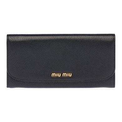 Miu Miu Long Continental Wallet In Black