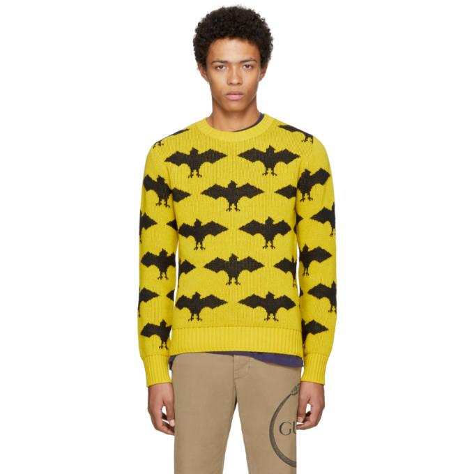 Gucci Woll And Alpaca Jacquard Long Sleeves Crew Neck In Yellow / Black