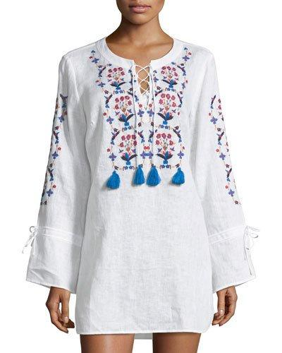 7a2c379c4f6 Tory Burch Wildflower Embroidered Bell-Sleeve Linen Beach Tunic In White
