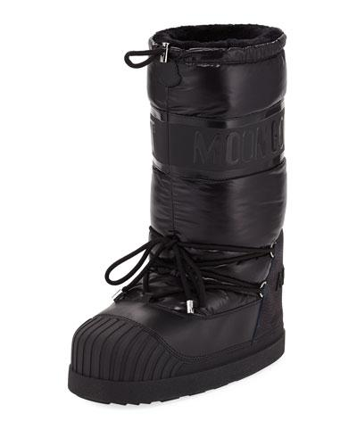 653fd7f466f5 Moncler Moon Boot Venus Shell And Textured-Leather Snow Boots In ...