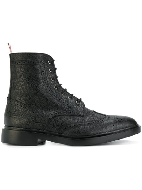 Thom Browne Wingtip Brogue Grained-leather Boots In Black