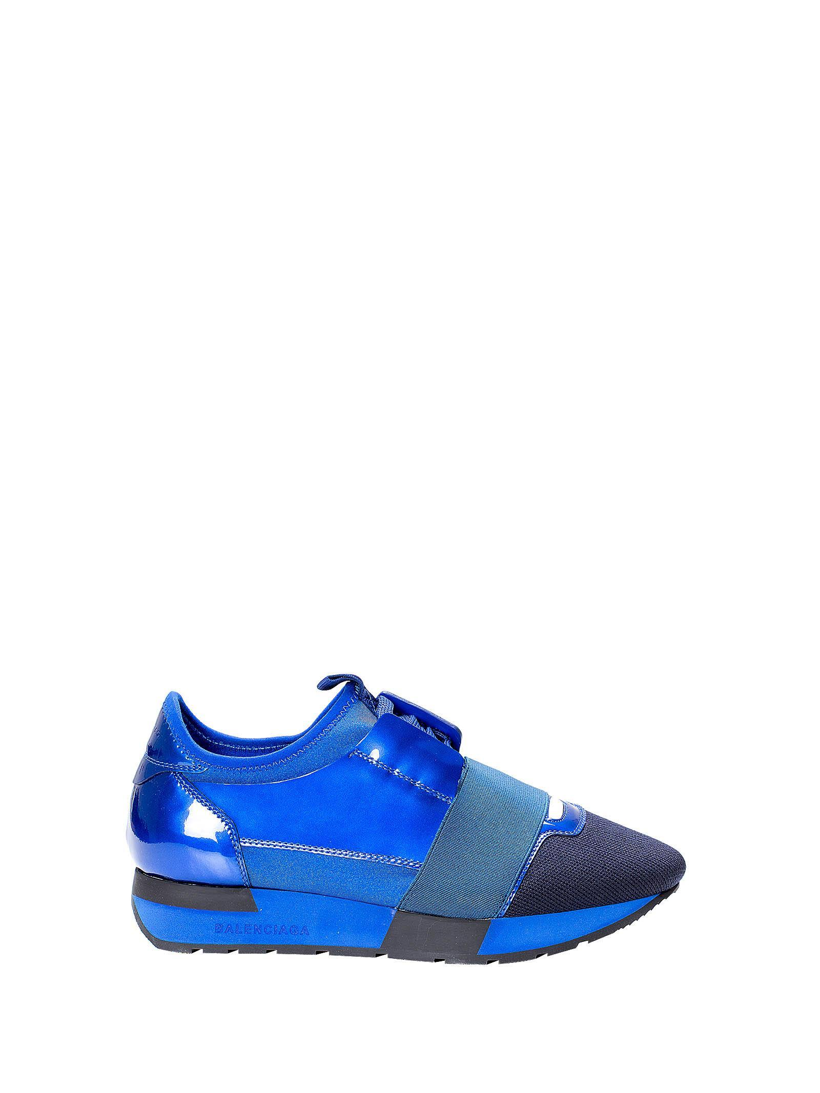 949f1614c30a Balenciaga Blue Patent Race Runner Sneakers In Variante Bleue