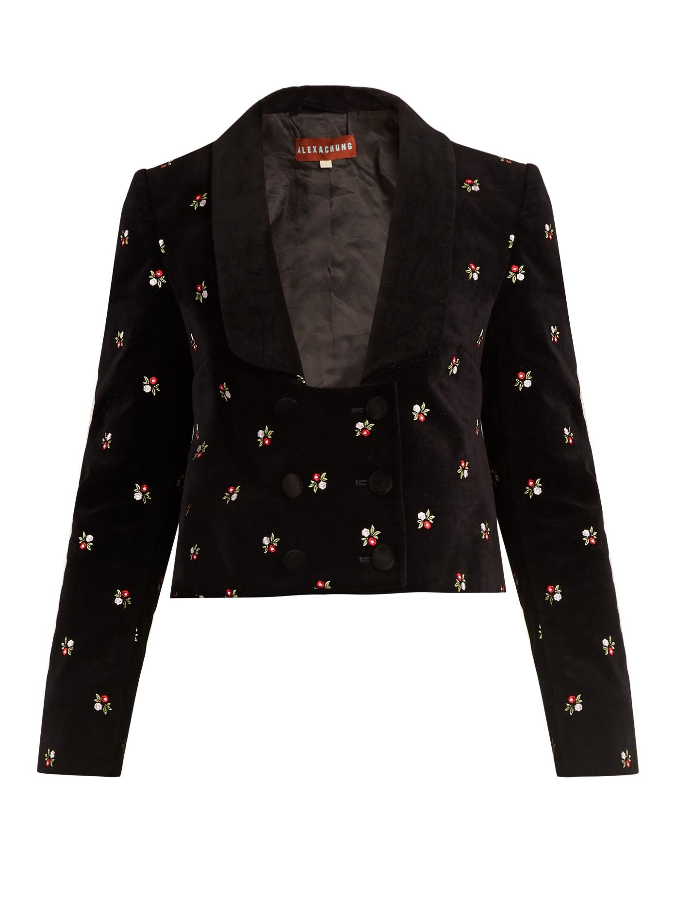 055ed9317 Alexa Chung Floral-Embroidered Cropped Cotton-Velvet Jacket In Black ...
