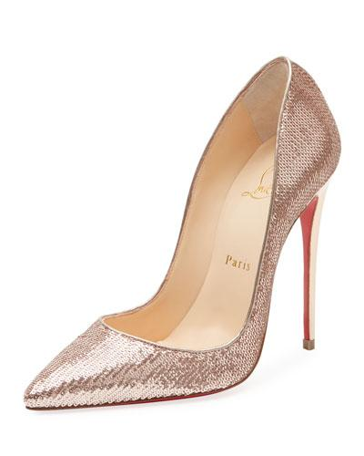 4568fdb1ab30 Christian Louboutin So Kate 120 Sequined Canvas Pumps In Gold