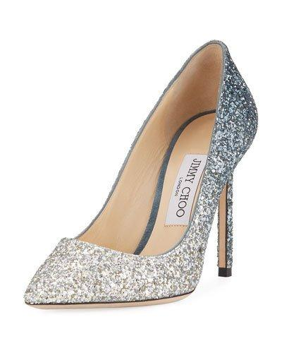 4637d2474e1 Jimmy Choo Romy 100 Silver And Dusk Blue Fireball Glitter DÉGradÉ Fabric  Pointy Toe Pumps