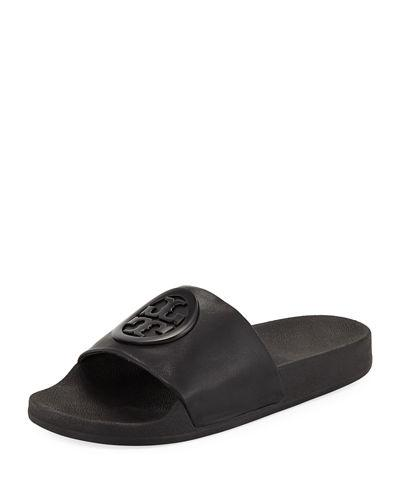 32791a9991e4 Tory Burch Women s Lina Leather Pool Slide Sandals In Black