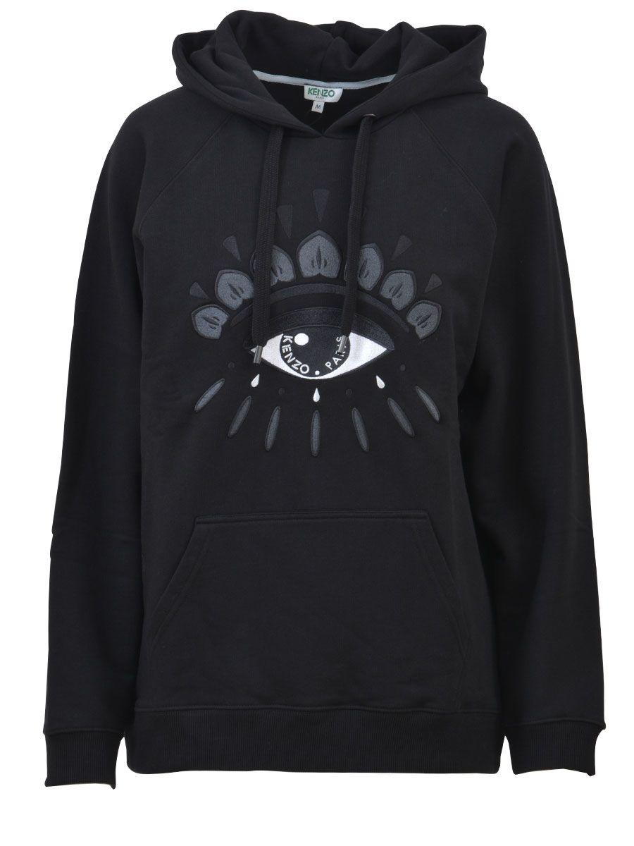cd95e83105 Kenzo Women's Black Evil Eye-Embroidered Cotton-Jersey Hoody | ModeSens